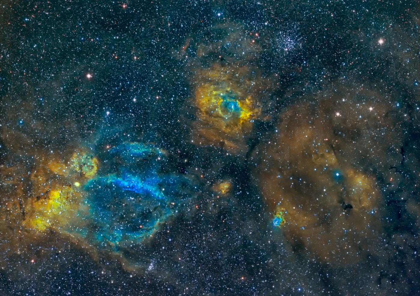 Sh2-157 Claw and NGC7635 Bubble Nebulae in HST