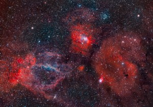 Sh2-157 Claw and NGC7635 Bubble Nebulae in HOO